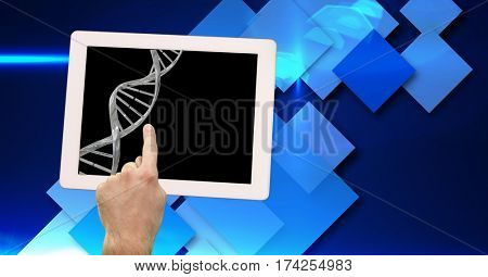 Digital composition of man touching digital tablet with dna icon against digitally generated background