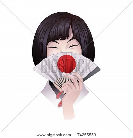 Portret of cute asian girl with short hairs hiding her face under the traditional japanese fan. Vector portet isolated on white background