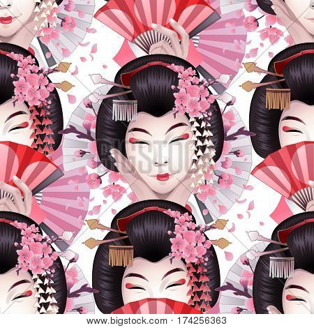 Cute asian girls with traditional japanese hairstyle hiding her face under the white fan. Vector seamless pattern