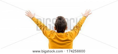 young man cheering open arms at mountain with fog