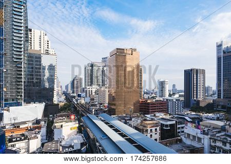 BANGKOK - JAN 21 2017: Bangkok Time lapse Cityscape Architecture Urban Lifestyle Transportation
