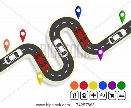 Infographics. Marks navigator. Winding road with markings. Cars. Top view with shadow. Vector illustration
