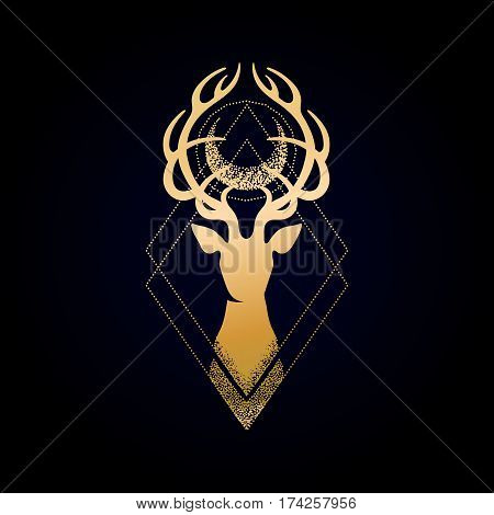 Deer silhouette with moon over its head. Vector graphic isolated illustration in golden colors. Can be used as blackwork tattoo art, print or t-shirt design