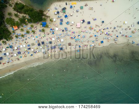 Top View of a Crowded Beach