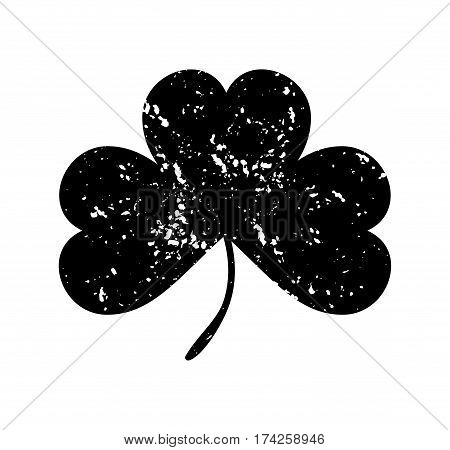 Clover leaf isolated black on white background. Silhouettes of three leaf clover in flat style with abrasion spots and scratches. The effect of abrasion and distressed. Shamrock black on white