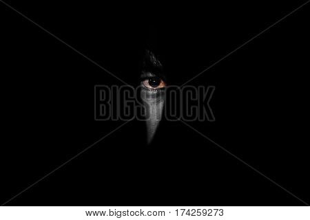 Red Eye Of Man Looking  Through The Hole In The Dark