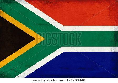 Vintage national flag of South Africa background