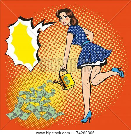 Vector illustration of rich and beautiful young woman watering paper money with watering can, speech bubble. Retro pop art comic style.