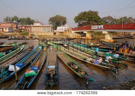 Motorboats At The Pier In Inle Lake, Myanmar