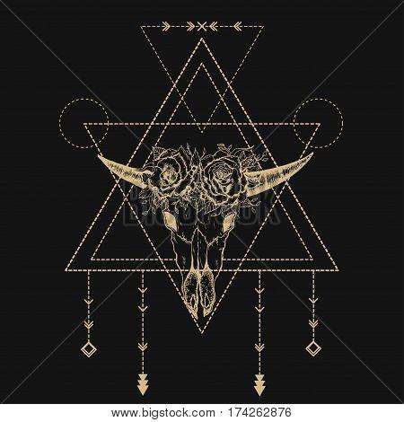 Vector bull skull. Sacred geometry Bull horn. Bull skull silhouette. The geometric shapes. Thin line. Modern style