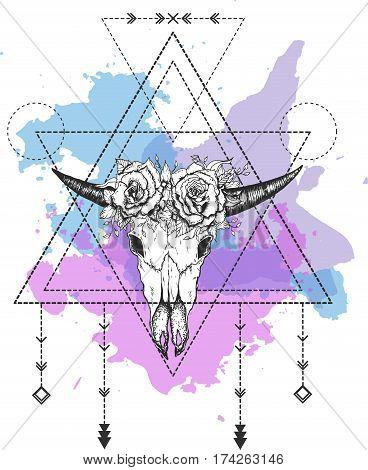 Vector bull skull. Sacred geometry Bull horn. Bull skull silhouette. The geometric shapes.