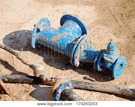 Old Drink Water Pipes, Used Blue Gate Valve And Reduction