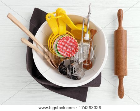 Baking Tools And Utensils In Mixing Bowl