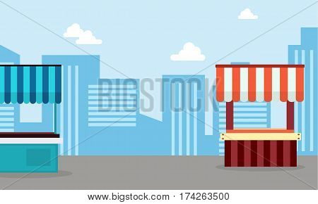 Vector art of street stall wity city background collection stock