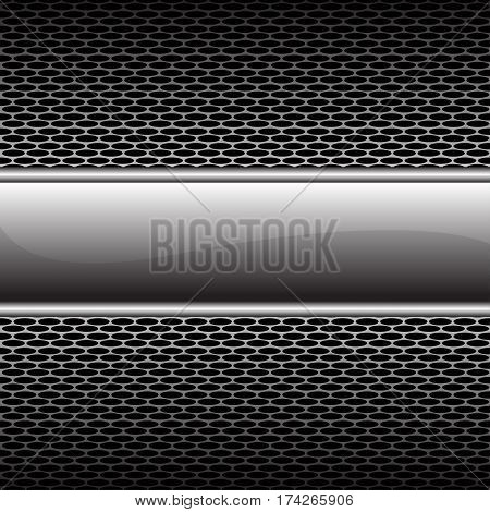 Abstract silver glossy banner on honeycomb mesh pattern design luxury background vector illustration.