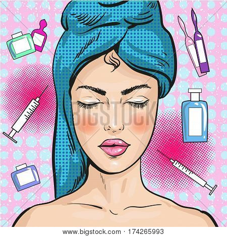 Vector illustration of woman in beauty salon in retro pop art comic style. Facial treatment, rejuvenation, cleansing concept.