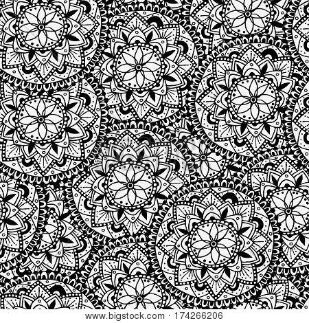 Vector seamless mandala pattern. Repeating ethnic print. Black mandala oriental motives. Mandala coloring page