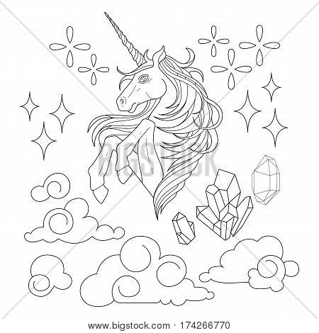 Cute set of graphic unicorn, fantasy clouds and crystals. Coloring book page design for adults and kids