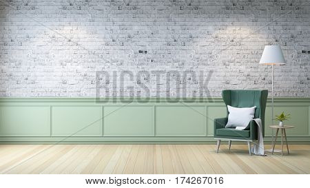 Modern loft interior living room white wood flooring green armchair with table and white lamp on bright gray bricks wall background 3d render