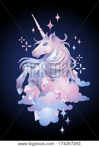 Cute graphic unicorn in the sky. Vector fantasy art in pastel colors isolated on the dark background