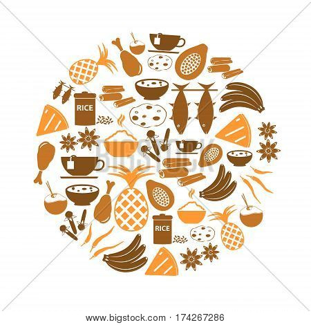 Indian Food Theme Set Of Simple Icons In Circle Eps10