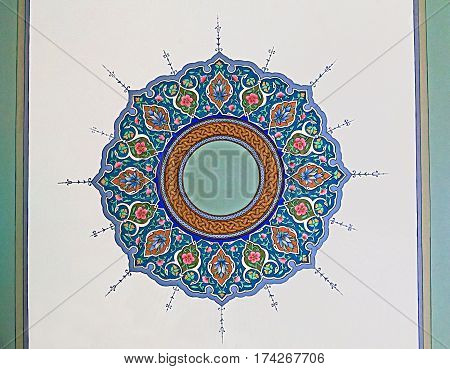 Old Eastern ornament on the ceiling of a mausoleum, Uzbekistan