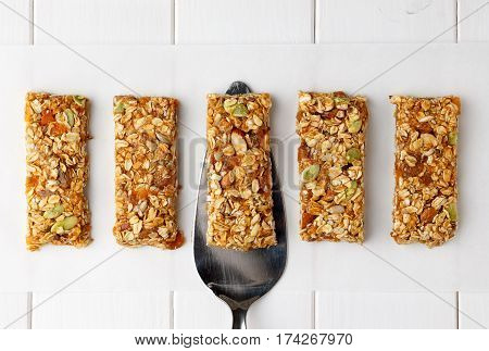 No Bake Energy Granola Bars On White Wooden Table.
