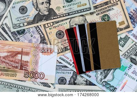 Credit Cards With Usa Dollars And Russian Rubles Bills.