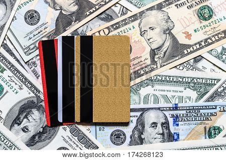 Credit Cards With Usa Dollars Bills.