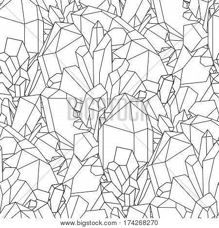 Cute graphic crystals drawn in line art style. Vector seamless pattern. Coloring book page design for adults
