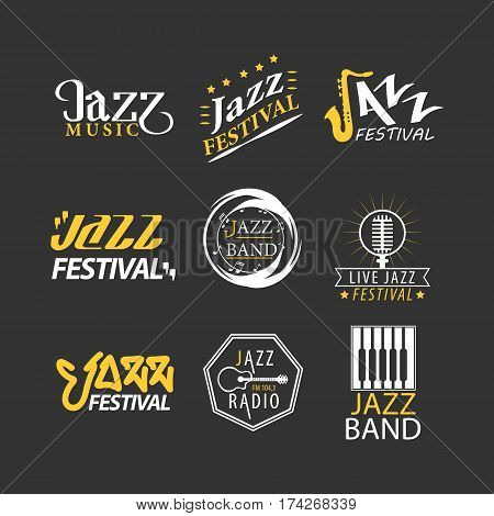 Jazz festival logos set isolated on black background. Jazz festival logotypes, advertisement emblems with musical symbols for jazz music promotion. Vector illustration of labels for jazz brand