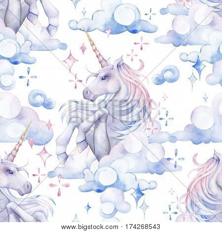 Cute watercolor unicorn in the sky. Fantasy art in pastel colors. Hand drawn seamless pattern