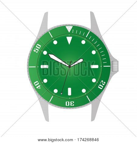Simple Modern Sport Divers Style Green Watch Case And Dial Object Eps10