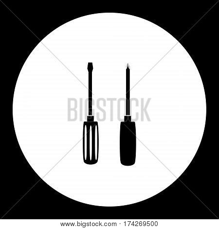 Two Black Screwdriver Hand Tools Simple Isolated Icon Eps10