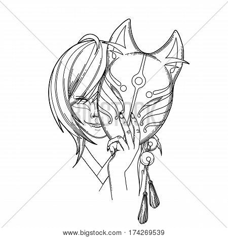 Smiling asian girl hiding her face under the japanese demon fox mask. Translation of the hieroglyph - fox. Coloring book page design for adults and kids