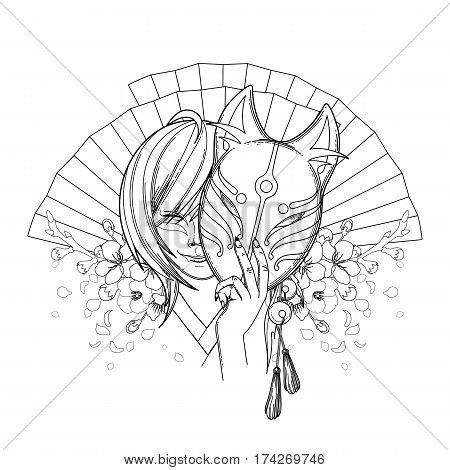 Smiling asian girl hiding her face under the japanese demon fox mask with sakura flowers and traditional fans on background. Coloring book page design for adults and kids