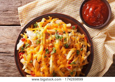 Spicy French Fries With Cheddar Cheese, Chili Pepper And Chicken Meat Macro. Horizontal Top View