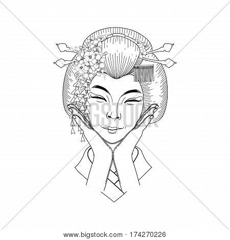 Cute smiling asian girl posing with hands near her face. Vector portrait of young woman with traditional japanese hairstyle. Coloring book page design for adults and kids