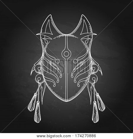 Graphic mask of japanese demon kitsune isolated on the chalkboard. Traditional attribute of asian folklore. Translation of the hieroglyph - fox