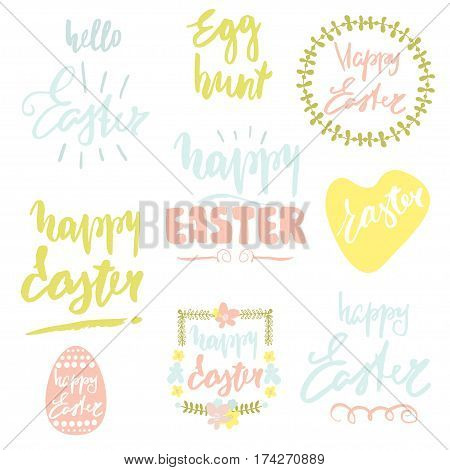 Happy Easter handwritten quotes. Easter overlays. Calligraphy postcard or poster graphic design lettering element. Hand drawn lettering isolated. Perfect for using in scrap booking websites blogs cards