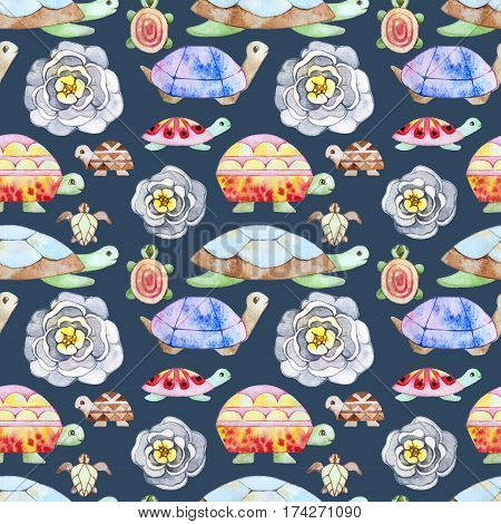 Watercolor stylized turtles seamless pattern texture. Kids cartoon style.