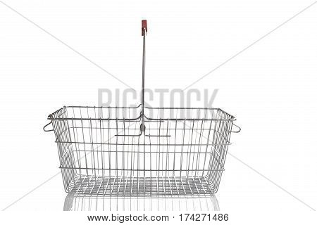 Steel Shoping Basket Isolated On White