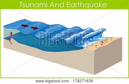 A tsunami is a series of huge waves.