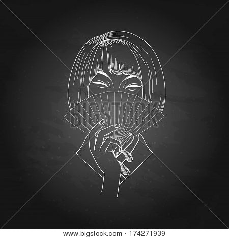 Portret of cute asian girl with short hairs hiding her face under the traditional japanese fan. Vector portet isolated on the chalkboard
