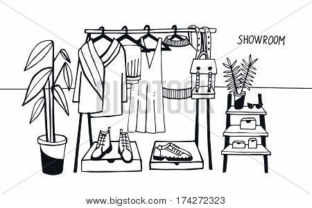 Coat rack with clothes, bags, boxes and shoes, fashion, modern style. Vector illustration showroom