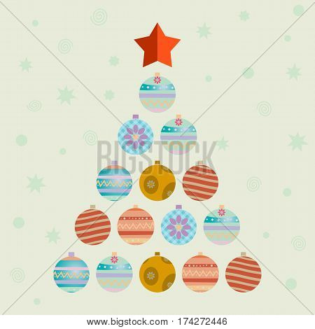 christmas tree consists of balls.  flat vector illustration
