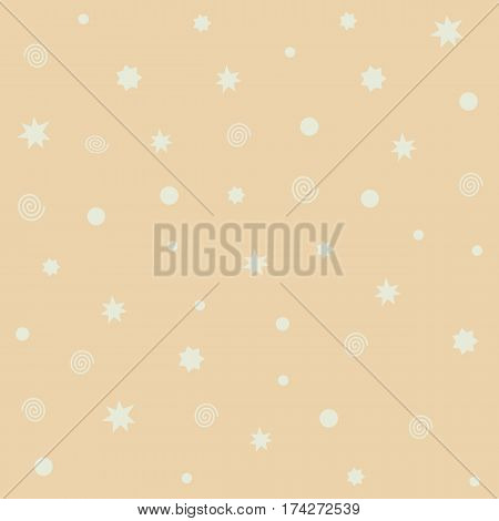 Yellow vector seamless pattern with stars flashes rings dots. Abstract hipster backdrop for web cards invitations. Colorful holiday background