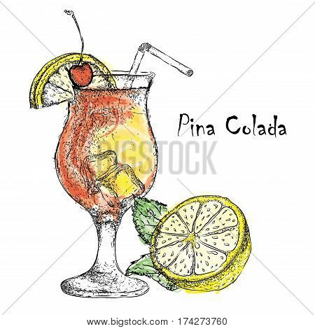 Hand drawn pina colada cocktail in glass with lime. Vector illustration