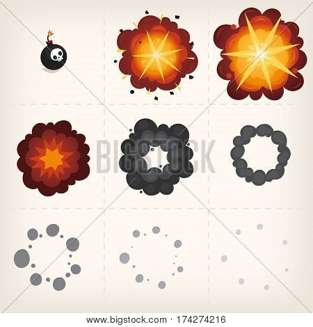 Animation of explosion. Cartoon vector sprites. Isolated frames