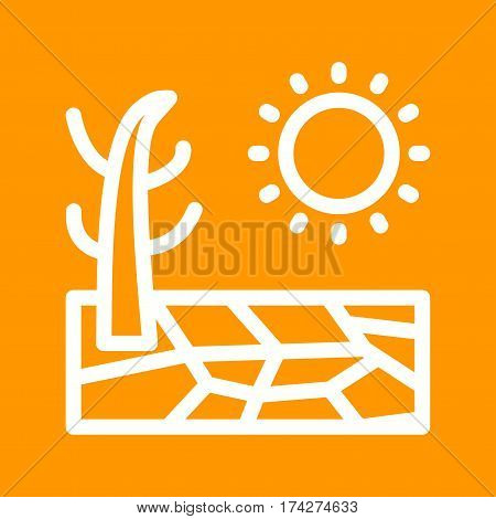 Drought, dry, land icon vector image. Can also be used for disasters. Suitable for mobile apps, web apps and print media.
